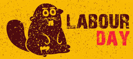 Sketch of industrious animal is beaver a wrench for World Labour day1 May with Grunge Background. Vector Illustration