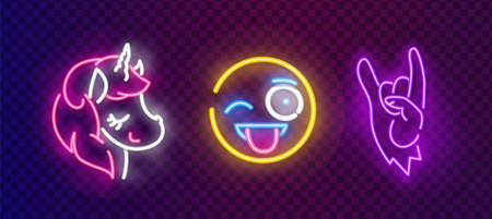 Pop art icons set. Pop art neon sign. Bright signboard, light banner. Neon isolated icon, emblem.