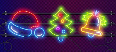 Set of Christmas colorful neon signs makes it quick and easy to customize your holiday projects.