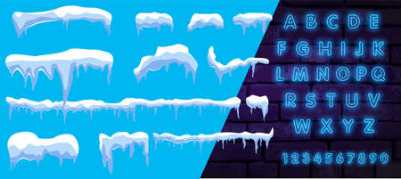 Winter blue background. Icy snow caps. With neon font. The vector contains snow on a blue vector background.