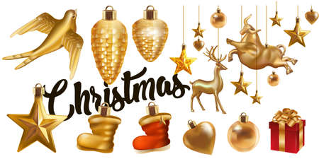 Christmas Golden hanging toy set. Realistic gold glittering stars, cones, bull, bird, deer, boot, ball, heart . Traditional festive Christmas eve New year celebration decoration design symbol vector. Ilustrace