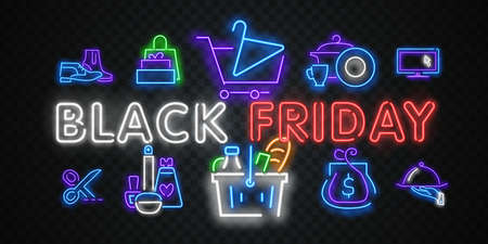 Vector web banner Black Friday. Neon sign. Web banner, emblem and label. Neon sign, bright signboard, light banner. Ilustração