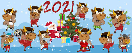Happy chinese new year 2021 version. Zodiac of ox cartoon character traditional. New year 2021 cards. Chinese translation: New year 2021 of the ox.