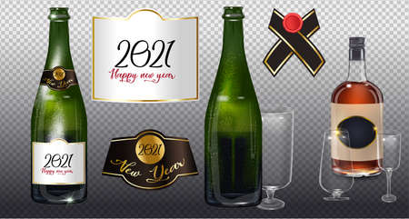Happy New Year 2021 a bottle of champagne on a transparent background. Vector illustration of New year party design template