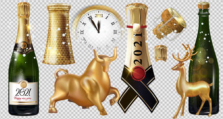 Happy New Year 2021 a bottle of champagne on a transparent background. Vector illustration of New year party design template with elements: Golden bull, deer, clock