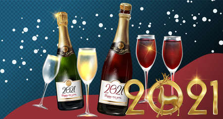 Happy New Year 2021 a bottle of champagne on a transparent background. Vector illustration of New year party design template with elements: 2021 Golden deer  イラスト・ベクター素材