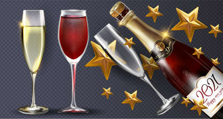Red bottle of champagne on a transparent background with a few glasses and gold stars. Vector illustration of New year party