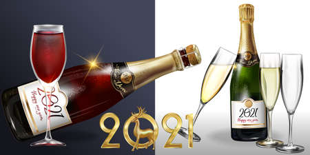 Happy New Year 2021 a bottle of champagne on a white background. Vector illustration of New year party design template with elements  イラスト・ベクター素材