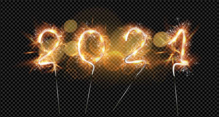 Happy New Year 2021. Vector Sparkling burning numbers Year 2021 isolated on black background. Beautiful Glowing golden overlay object for design holiday greeting card