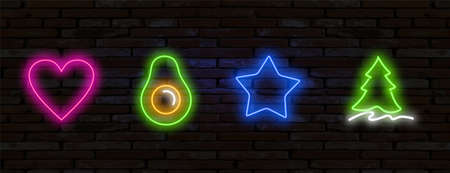 Pop art icons set. Pop art neon sign. Bright signboard, light banner. Set of neon stickers, pins, patches in 80s-90s neon style.