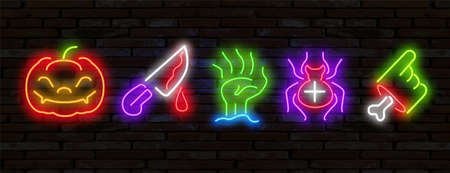 Big set icon neon sign. Happy Halloween. Neon sign, bright signboard, light banner. Set of neon stickers, pins, patches in Halloween neon style.