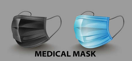 Safety breathing medical masks. Industrial safety mask, dust protection respirator and breathing medical respiratory mask. Hospital or pollution protect face masking. - vector