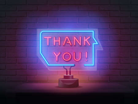 Thank you neon signboard. Retro neon Thank You sign on purple background.