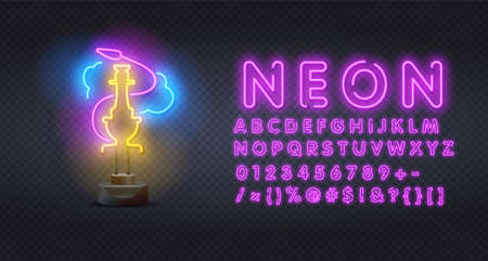 Hookah bar neon sign with alphabet, bright signboard, light banner. Hookah logo, emblem. Vector illustration