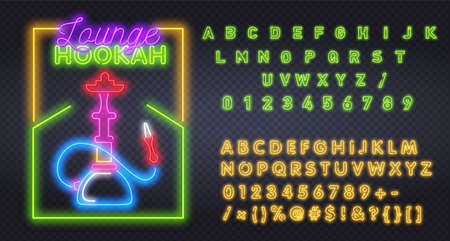Neon hookah sing with alphabet. Hookah bar neon sign, bright signboard, light banner. Hookah , emblem. Vector illustration