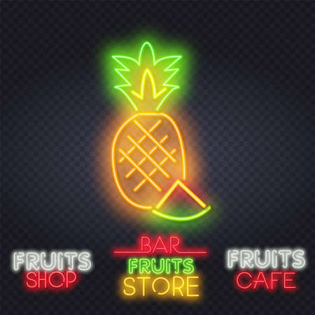 Pineapple neon light icon. Glowing sign with alphabet, numbers and symbols. Vector isolated illustration. Pineapple neon sign. Summer and vacation design. Night bright neon sign. Çizim