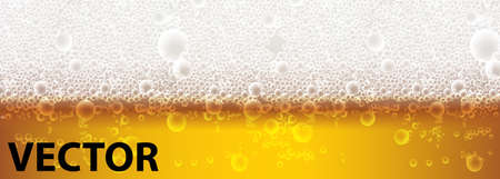 Close up light beer with foam and bubbles. Beer foam background, horizontal beer pattern. Light bright, bubble and liquid, vector illustration