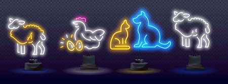 Animal welfare neon light concept icon. agriculture neon icons, vector neon glow on dark background. Veterinary clinic. Neon vector isolated illustration