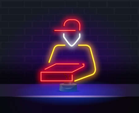 Package Courier Neon Sign. Vector Illustration of Delivery Promotion isolated on brick wall. neon pizza delivery man with box