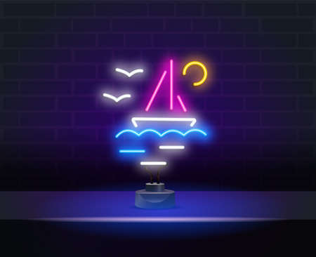 Yacht club. Sailing ship on sea waves neon sign. Vessel, voyage, adventure design. Neon bright sign. Logo. Bright Banner.Emblem. Summer. Sailing yacht on the horizon. Vector image