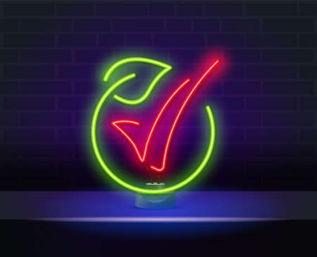 Glowing neon sign of green, eco energy. Glowing neon line Electric saving plug in leaf icon isolated on brick wall background. Save energy electricity. Environmental protection. Bio energy.