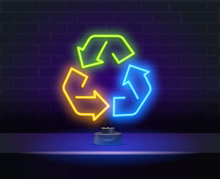 Multicolored neon light recycle symbol sign. Recycle neon light icon. Environment protection. Recycle arrows sign. Vector isolated illustration