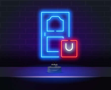 Receive neon light concept icon. Shipping service. Parcel delivery. Online shopping. Digital purchase. Delivery to your door neon sign. Glowing inscription with red package with products.