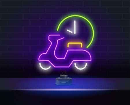 Bicycle delivery neon light icon. Purple bicycle with parcel packages. Bicycle messenger, cycle courier. Express bike shipping. Postal service. Vector isolated illustration
