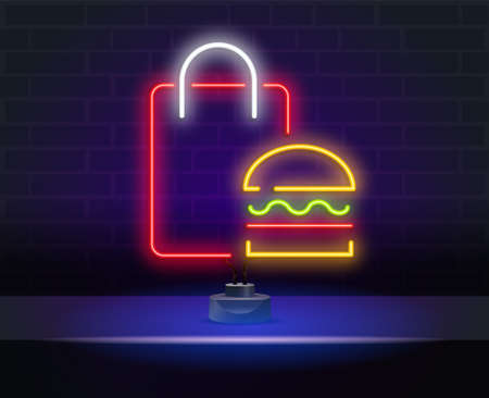 Delivery sign in neon style. Red package with products. Night bright advertisement. Vector illustration for food delivery and courier 向量圖像