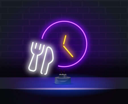 Fast delivery line icon. Neon laser lights. Time sign. Neon lights fork spoon and watch. Banner badge with fast delivery icon. Vector