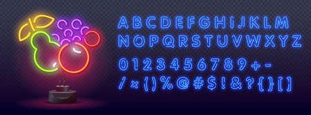 Set Fruit neon sign. bright signboard, light banner. Neon logo, emblem. Sign with alphabet, symbols. Vector isolated RGB color illustration