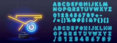Wheelbarrow blue glowing neon ui ux icon. Glowing sign logo vector. Night bright neon sign, colorful billboard, light banner. 向量圖像