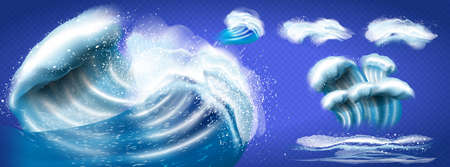 Set of blue sea waves isolated on white background, also a logo idea. top view of sea waves isolated on transparent background. Vector illustration 向量圖像
