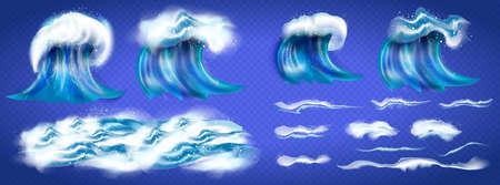 Wave symbols set for design isolated on blue background, such emblem or logo template. sea and waves on a transparent background. Sketch of the sea tidal blue wave splash