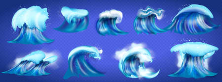 Vector sea Wave symbols set for design , such emblem or logo template. sea and waves on a transparent background. Sketch of the sea tidal blue wave splash