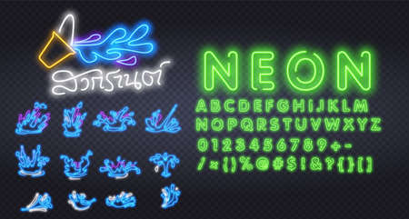 Songkran neon sign, bright signboard, light banner. Songkran logo, emblem and label. Neon sign creator. Neon text edit with easy to change color font alphabet logo for template decoration