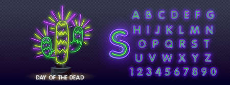 Day of the Dead Neon Concept. Vector Illustration of Mexican Holiday Promotion. Dia de los Muertos Neon Banner Design. Vector Illustration