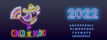 Cinco De Mayo neon sign, bright signboard, light banner. Mexico logo, emblem. Vector realistic isolated neon sign of Cinco De Mayo logo for template decoration