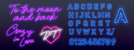 To the moon and back in neon style. Crazy in Love Neon Signs Style Text vector. Pop art neon light sign. Bright signboard, light banner. Vector illustration Pop art icons set.