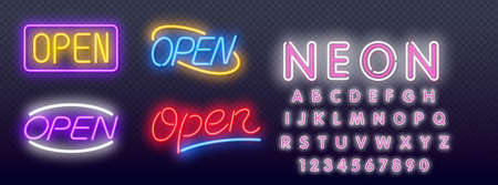 Set of Open neon sign with reflection. Open Neon Text Vector and a brick wall background vector illustration. Editing Text Neon Signs