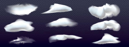 Set of different isolated vector clouds on transparent background. 3d realistic vector clouds 向量圖像