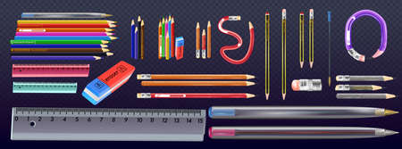 Vector realistic yellow wooden pencil with eraser. Sharpened detailed office mockup, school instrument, creativity, idea, education and design symbol. colorful pencil set 向量圖像
