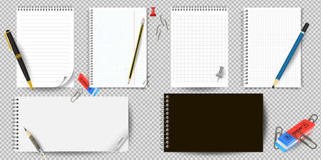 Realistic white lined notepad and pencil sheet isolated on white background vector illustration. notepad and pencil for writing