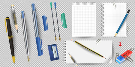 Realistic white lined notepad and pencil sheet, sharpener and eraser, pens and paper clips isolated on white background vector illustration. notepad and pencil for writing