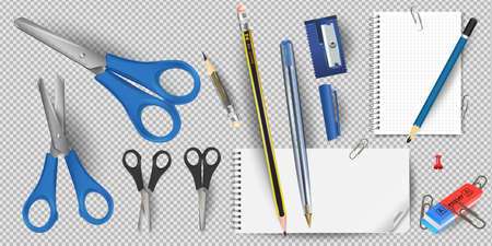 Scissors isolated on a white background. Colorful school supplies, vector illustration. Stationery. Vector close-up cartoon illustration.