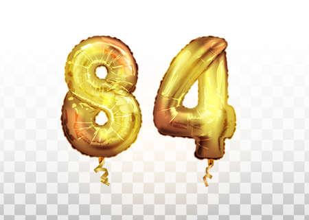 vector Golden foil number 84 eighty four metallic balloon. Party decoration golden balloons. Anniversary sign for happy holiday, celebration, birthday Ilustración de vector