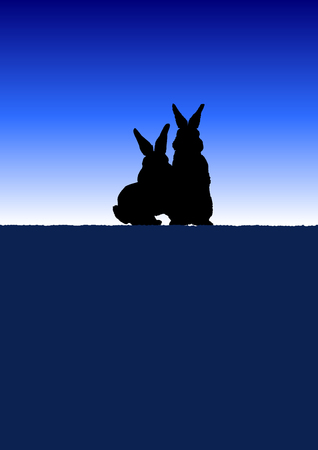 Lovers of rabbits meet dawn together 向量圖像