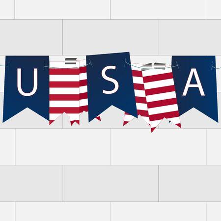 Waving flag of the United States. Illustration of wavy American Flag Çizim
