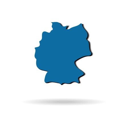 blue vector Germany map with shadow on a white background