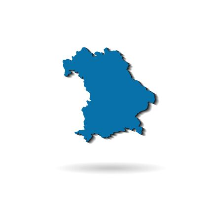 blue vector map of bavaria with shadow on a white background